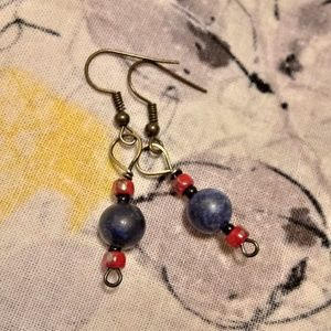 💟5 FOR $25💟LADIES Blue Lapis Dangle Earrings